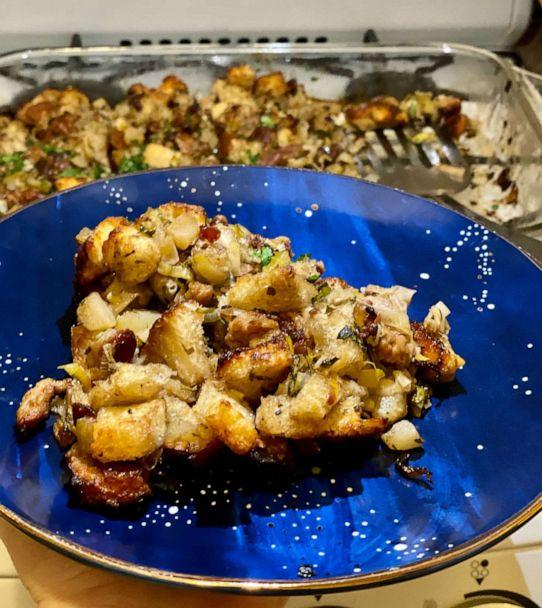 PHOTO: A serving of stuffing on a plate in a New York City apartment. (Kelly McCarthy)