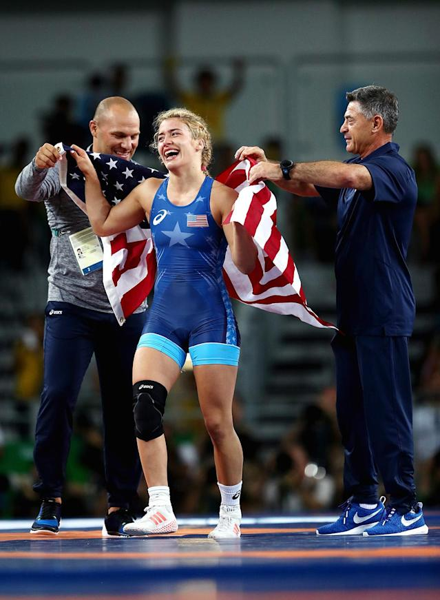 <p>Girls wear singlets, too. Helen Maroulis won gold in wrestling, the first time an American woman has done so. What's better than winning gold? Beating a three-time Olympic gold medalist and the most decorated female in the history of women's wrestling. This was Maroulis' first Olympics. (Photo by Julian Finney/Getty Images) </p>