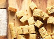 """<h2>9. Perfect Vegan Cornbread</h2> <p>We like drizzling thick slices of this soft, moist loaf with honey.</p> <p><a class=""""link rapid-noclick-resp"""" href=""""https://minimalistbaker.com/perfect-vegan-cornbread/"""" rel=""""nofollow noopener"""" target=""""_blank"""" data-ylk=""""slk:Get the recipe"""">Get the recipe</a></p>"""