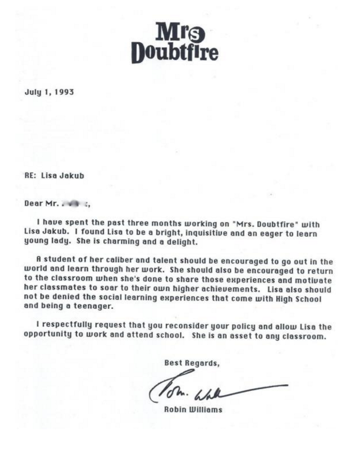 Robin Williams wrote this letter to the school of his