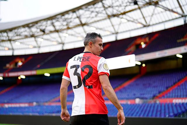 Robin van Persie is pictured on the pitch of De Kuip stadium, after the Dutch player signed a contract with Feyenoord, in Rotterdam, Netherlands January 22, 2018. REUTERS/Cris Toala Olivares