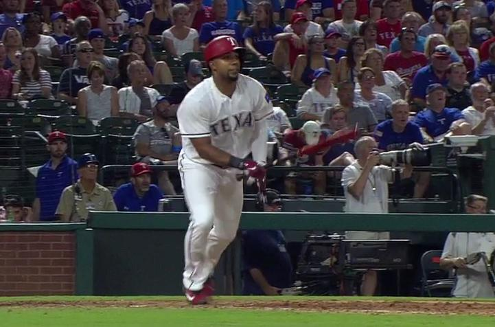Elvis Andrus takes his first step towards an inside-the-park homer that wouldn't count. (MLB.TV)