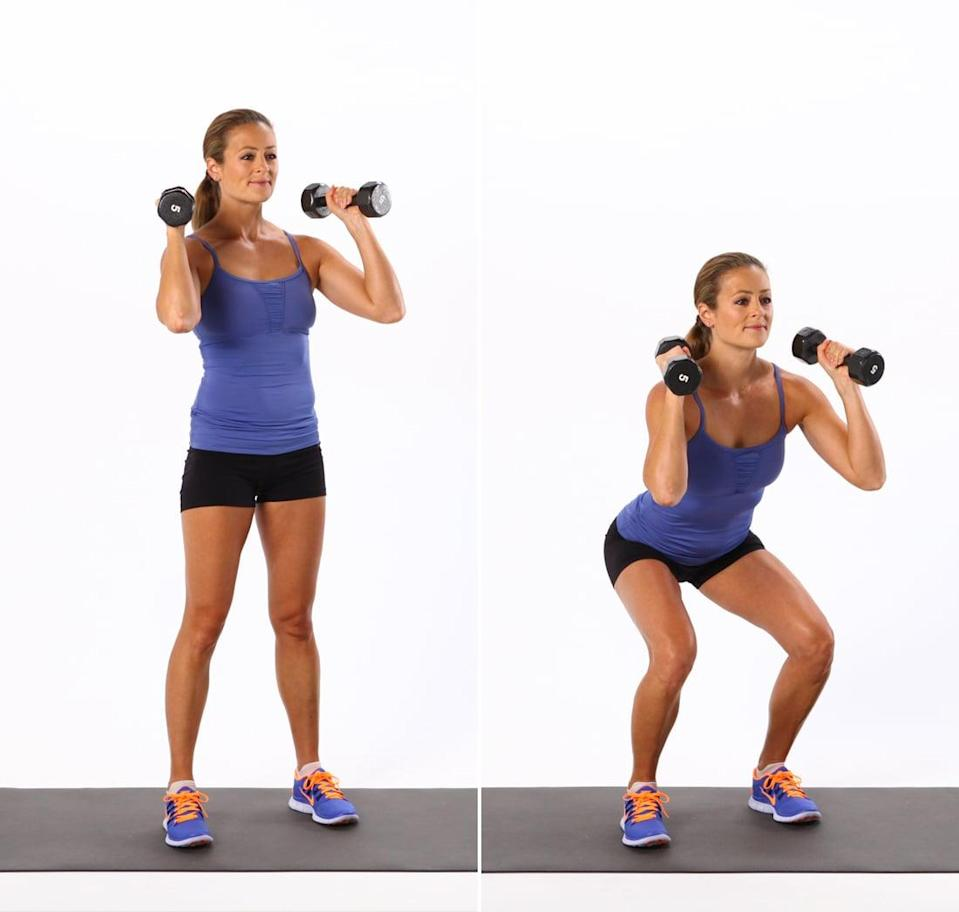 <ul> <li>Stand with your feet hip-distance apart, holding a dumbbell at each shoulder.</li> <li>Slowly bend your knees as if you were going to sit in a chair, keeping all the weight in your heels. Don't let your knees move beyond your toes, and don't let the knees roll out or in. Squat down as low as you can, keeping your head and chest lifted, your spine long, and your shoulders relaxed. </li> <li>Press through your heels, and slowly straighten your legs to stand up. Make sure to keep your spine neutral. Do not round your back.</li> <li>Repeat for 40 seconds, then take 20 seconds of rest.</li> </ul> <p>Complete circuit one for a total of three rounds.</p>