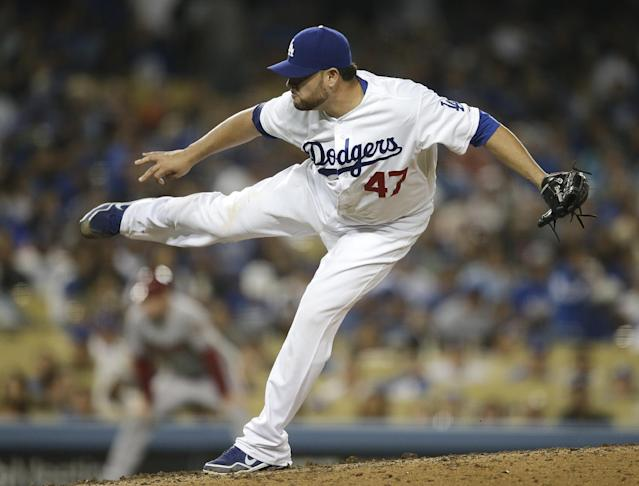 Los Angeles Dodgers starting pitcher Ricky Nolasco throws against the Arizona Diamondbacks during the fourth inning a baseball game on Monday, Sept. 9, 2013, in Los Angeles. (AP Photo/Jae C. Hong)