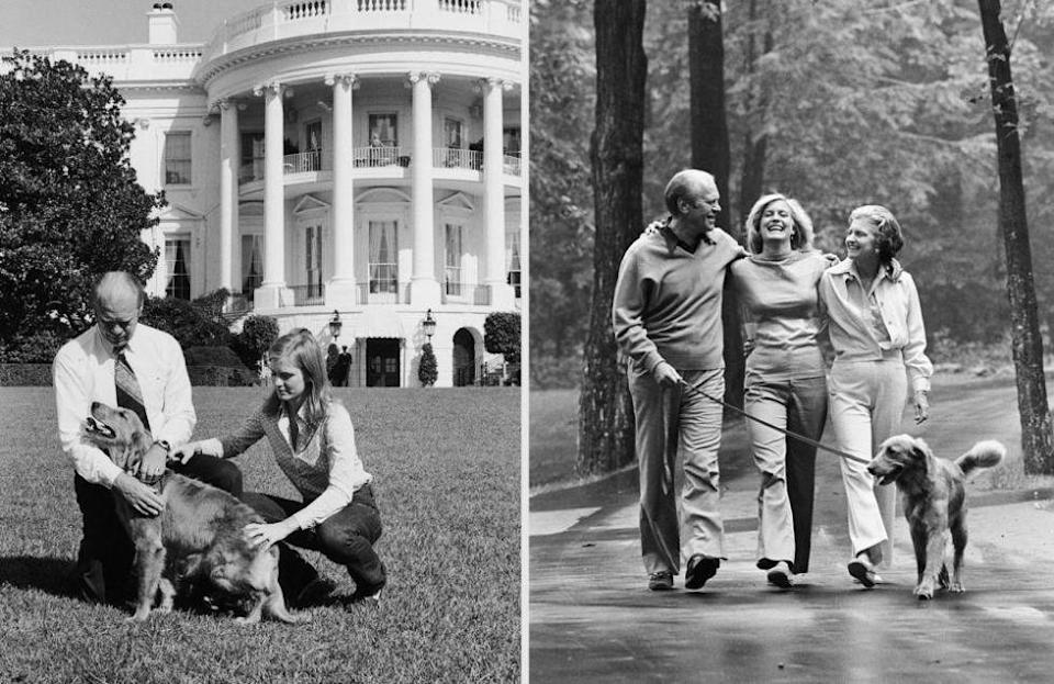 <p>From left: American President Gerald Ford and his daughter Susan Ford play with Liberty, their golden retriever; President Gerald R. Ford, Betty Ford and Susan take their dog Liberty on a stroll through the walkways in the woods of Camp David.</p>