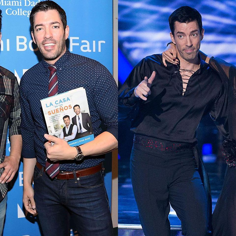"<p>The <em>Property Brothers</em> star is best known for his real estate deals while his brother Jonathan Scott oversees the big transformations on their HGTV show. However, on <em>Dancing With the Stars</em>, Drew experienced a personal transformation.</p><p>He lost 30 pounds competing on season 25 in 2017. ""I'm seeing my abs like I've never seen them before,"" he told <a href=""https://www.usmagazine.com/entertainment/news/drew-scott-has-lost-30-pounds-on-dancing-with-the-stars-w509318/"" rel=""nofollow noopener"" target=""_blank"" data-ylk=""slk:Us Weekly"" class=""link rapid-noclick-resp""><em>Us Weekly</em></a>. ""I have not been a 32 waist since I was in grade eight. I was still active [before], but I just haven't done cardio like this since I was a teenager.""</p>"