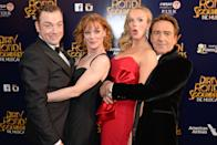 """LONDON, ENGLAND - APRIL 02: (L to R) Cast members Rufus Hound, Samantha Bond, Katherine Kingsley and Robert Lindsay attend an after party following the press night performance of """"Dirty Rotten Scoundrels"""" at The Savoy Hotel on April 2, 2014 in London, England. (Photo by David M. Benett/Getty Images)"""