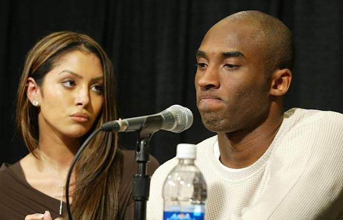 Kobe Bryant and his wife Vanessa at a news in 2003 to discuss the allegations against him in Eagle, Colo.