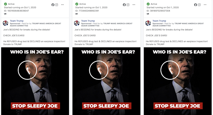 Facebook ads from Donald Trump's campaign promote a conspiracy that Joe Biden would rely on an earpiece during their first debate. (Facebook)