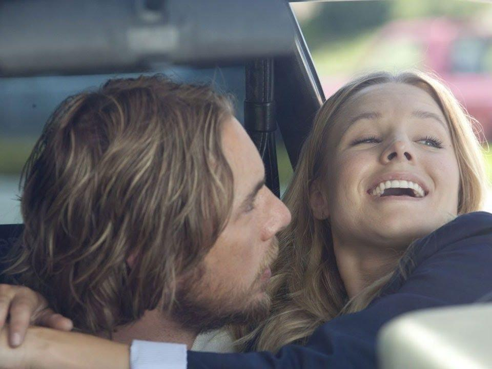 "Real-life partners Dax Shepard and Kristen Bell played a couple in ""Hit and Run."""