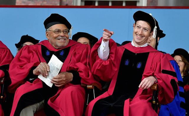 <p>Actor James Earl Jones and Facebook founder and CEO Mark Zuckerberg sat next to each other while receiving honorary degress from Harvard University at its 2017 commencement ceremony. Though Zuckerberg did study computer science at the Ivy League school, he dropped out to focus on Facebook. Looks like he made the right decision. (Photo: Paul Marotta/Getty Images) </p>