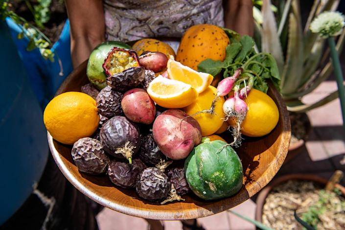 Passion fruit, lemons and other fruit.