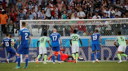 Soccer Football - World Cup - Group D - Nigeria vs Iceland - Volgograd Arena, Volgograd, Russia - June 22, 2018 Iceland's Gylfi Sigurdsson misses a chance to score from the penalty spot REUTERS/Toru Hanai