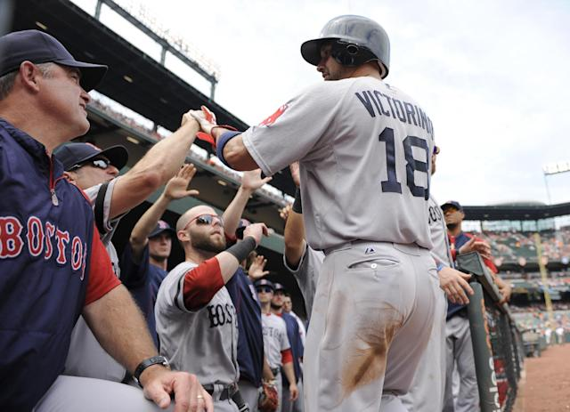 Boston Red Sox's Shane Victorino (18) is greeted in the dugout by Boston Red Sox manager John Farrell, left, Dustin Pedroia, center, and others after he scored on a double by Mike Napoli during the first inning of the MLB American League baseball game against the Baltimore Orioles, Sunday, July 28, 2013, in Baltimore. (AP Photo/Nick Wass)