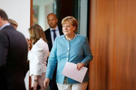 German Chancellor Angela Merkel attends the weekly cabinet meeting at the Chancellery in Berlin, Germany July 19, 2017. REUTERS/Axel Schmidt