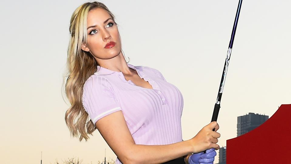 American golfer Paige Spiranac says double standards over her dress and behaviour led her to withdraw from her professional career. (Photo by Tom Dulat/Getty Images)