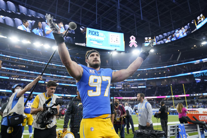 Los Angeles Chargers defensive end Joey Bosa celebrates after the Chargers defeated the Las Vegas Raiders 28-14 in an NFL football game Monday, Oct. 4, 2021, in Inglewood, Calif. (AP Photo/Marcio Jose Sanchez)