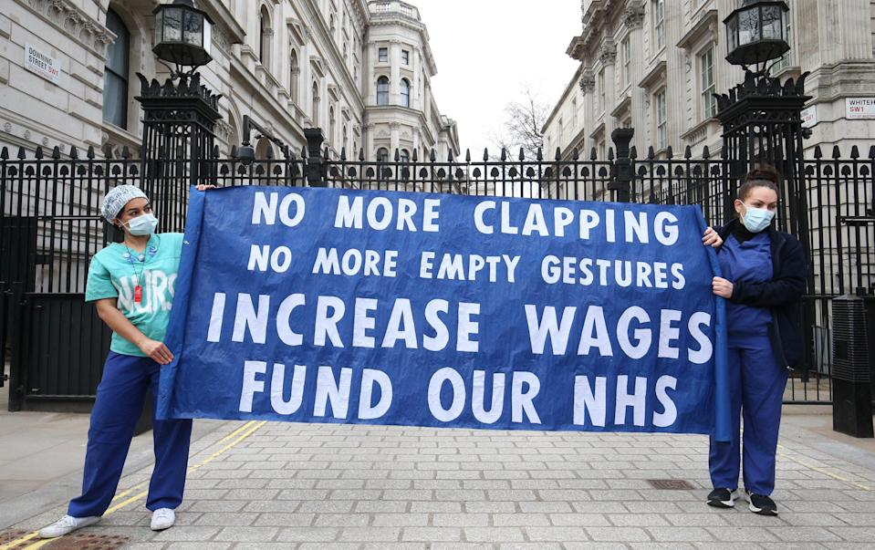Nurses and NHS workers campaign for wages (PA) (PA Wire)
