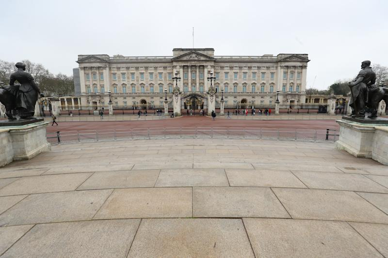 Empty streets surrounding Buckingham Palace after Queen Elizabeth II left London for Windsor Castle to socially distance herself amid the coronavirus pandemic. (Photo by Aaron Chown/PA Images via Getty Images)