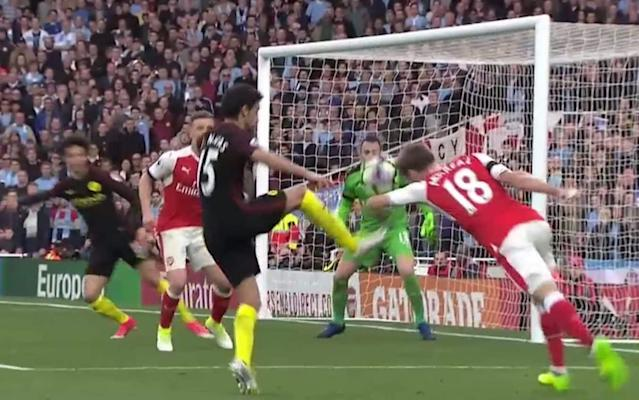 Manchester City appealed for handball against Nacho Monreal right at the death