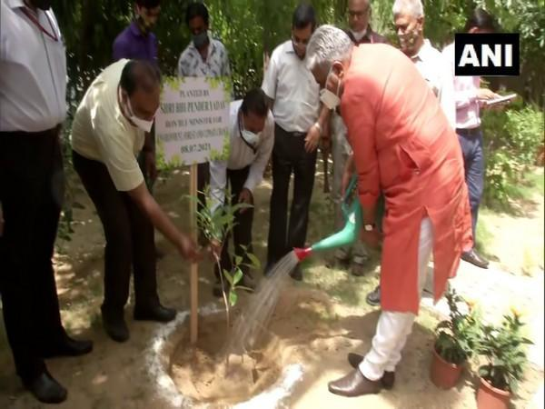 Bhupender Yadav, who took charge as Union Environment Minister on Thursday, plants a sapling. [Photo/ANI]