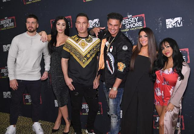 "Left to right, Vinny Guadagnino, Jenni ""JWoww"" Farley, Mike ""the Situation"" Sorrentino, Paul ""Pauly D"" DelVecchio, Deena Cortese, and Nicole ""Snooki"" Polizzi at the <em>Jersey Shore Family Vacation</em> premiere on April 4. (Photo: Dimitrios Kambouris/WireImage)"