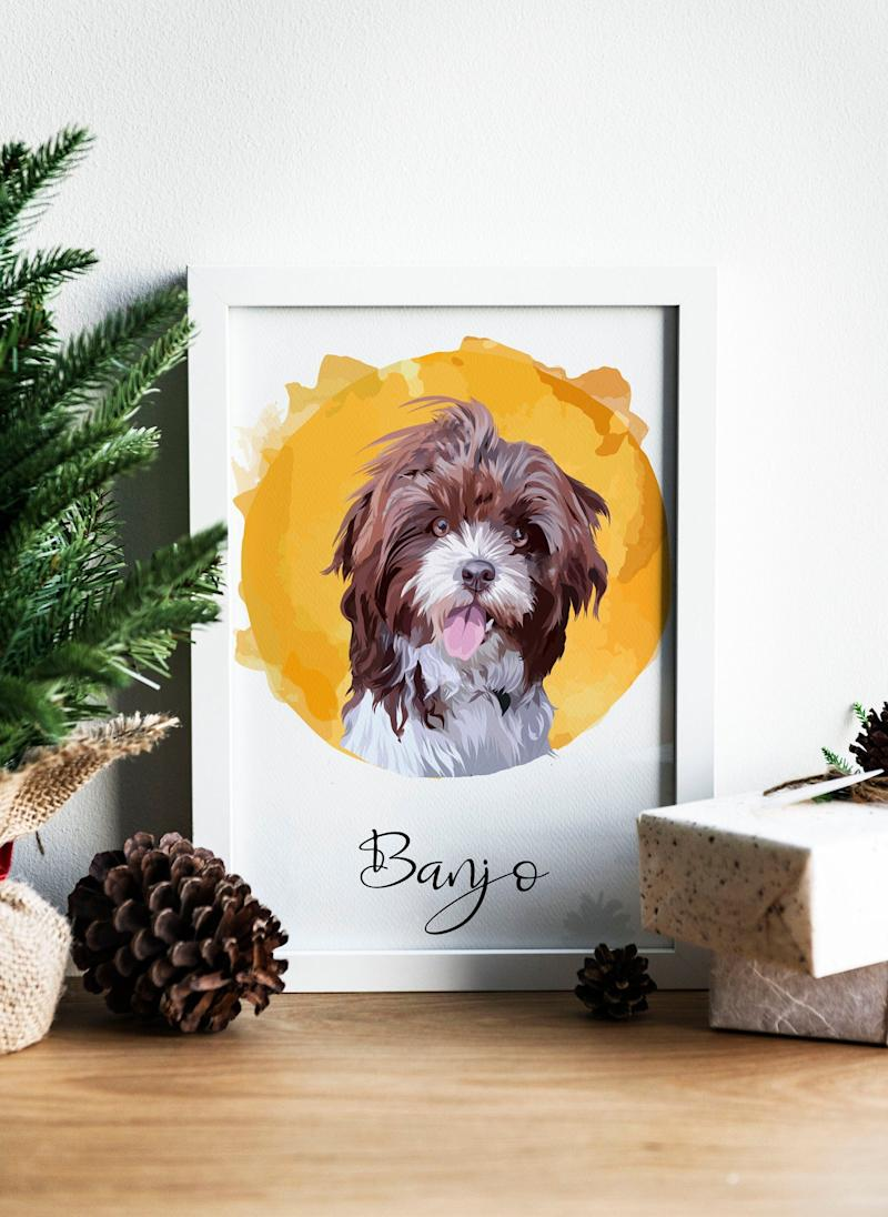 """Get a custom illustration of the only thing closer to their heart than you. <a href=""""https://fave.co/2TpGdgW"""" target=""""_blank"""" rel=""""noopener noreferrer"""">Find it for $45 on Etsy</a>."""