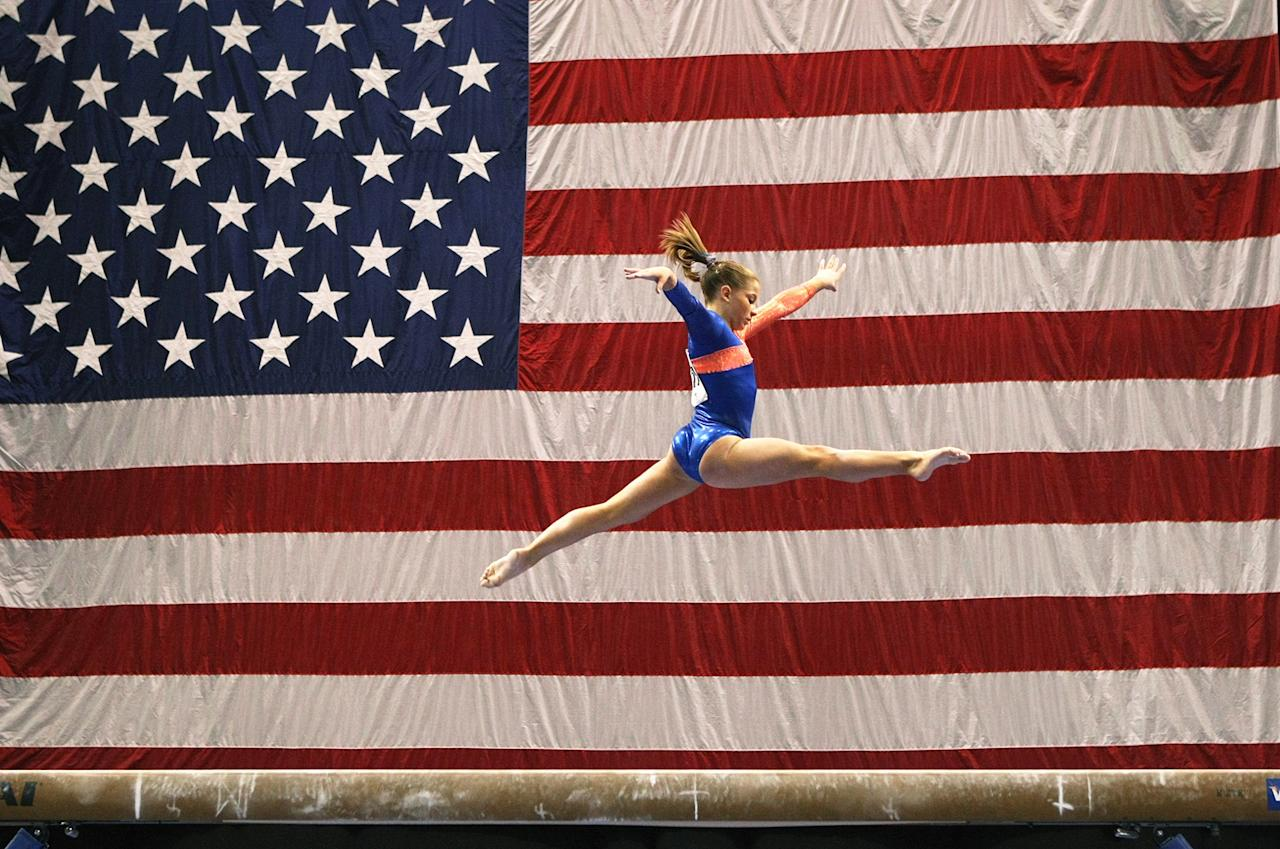 Shawn Johnson competes in the balance beam portion of the 2007 Visa Gymnastics Championship on August 18, 2007 at the HP Pavillion in San Jose, California.