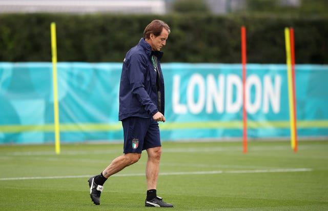 Italy manager Roberto Mancini during a training session at Tottenham Hotspur's training ground