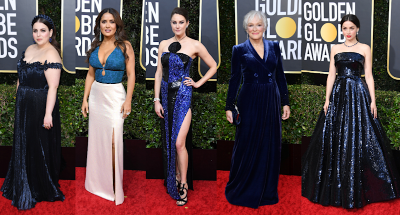 Beanie Feldstein, Salma Hayek, Shailene Woodley, Glenn Close, and Ana de Armas wowed the red carpet in Classic Blue. Images via Getty.