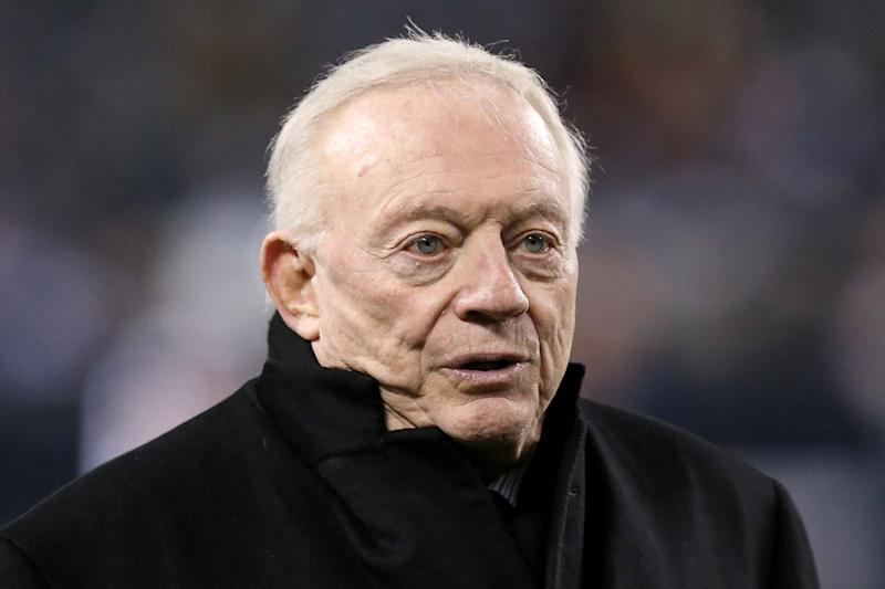 Dallas Cowboys owner/GM Jerry Jones was a little grumpy on Friday morning. (Dylan Buell/Getty Images)