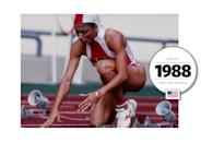 """Florence Griffith Joyner (""""Flo Jo"""") boasted the greatest style in track and field history — with custom-made suits (including an asymmetrical, one-legged uniform) and a six-inch manicure, decorated with stars and stripes. Her style legacy (and 100-meter and 200-meter records) remains unbeatable. (Getty Images)"""