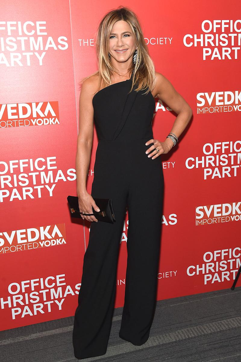 Jennifer Aniston Looks Chic at Office Christmas Party Premiere in N.Y.C.