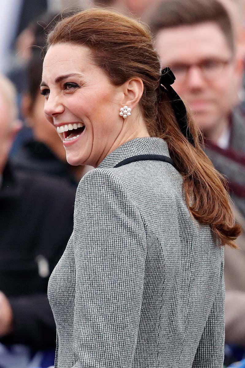 <p>Making us all want to hop on the hair bow trend, Kate Middleton added a velvet black ribbon to her ponytail.</p>