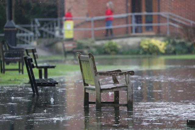 A flooded cricket pitch in Wraysbury, Berkshire