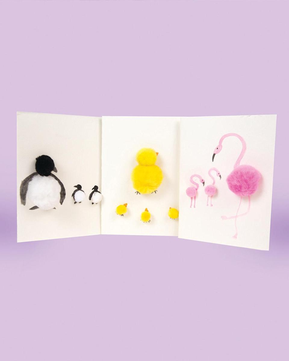 "<p>There's nothing cuter than a mama animal showing love to her babies. For this 3D card, kids can make a family of chicks, penguins, or — our favorite — flamingoes. Or they can include all three!</p><p><em><a href=""https://www.craftprojectideas.com/pom-animal-mothers-day-cards/"" rel=""nofollow noopener"" target=""_blank"" data-ylk=""slk:Get the tutorial at Craft Project Ideas »"" class=""link rapid-noclick-resp"">Get the tutorial at Craft Project Ideas »</a></em></p>"
