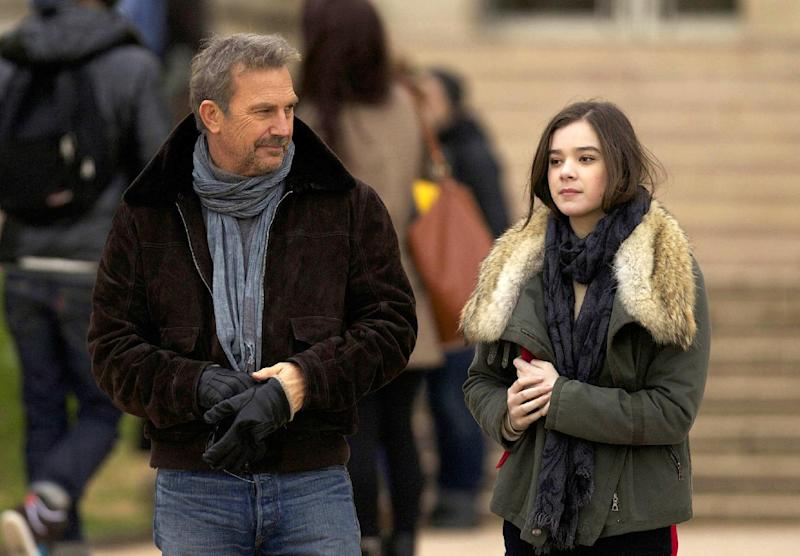"""This image released by Relativity Media shows Kevin Costner, left, and Hailee Steinfeld in a scene from """"3 Days to Kill."""" (AP Photo/Relativity Media, Julian Torres)"""
