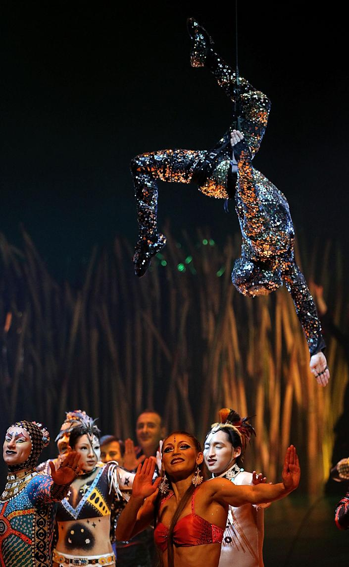 LONDON, ENGLAND - JANUARY 04: Artists from Cirque Du Soleil: Totem perform at Royal Albert Hall on January 4, 2012 in London, England. (Photo by Danny Martindale/Getty Images)