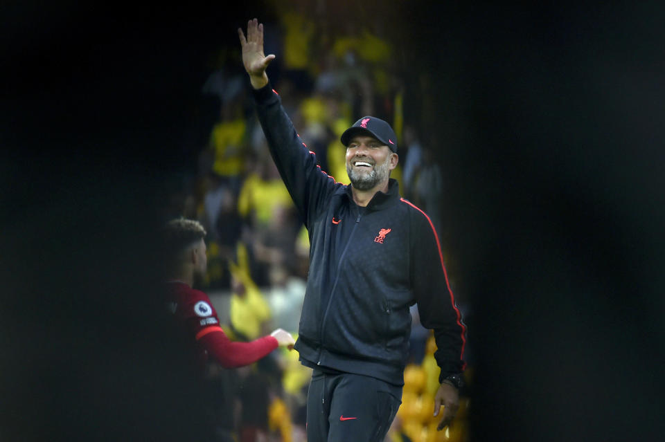 Liverpool's manager Jurgen Klopp gestures at the end of the English Premier League soccer match between Norwich City and Liverpool at Carrow Road Stadium in Norwich, England, Saturday, Aug. 14, 2021. Liverpool won 3-0. (AP photo/Rui Vieira)