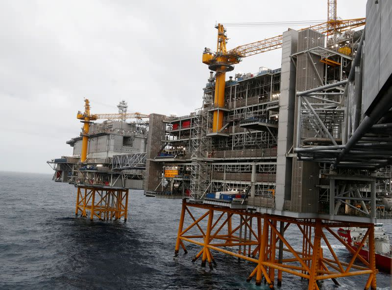 FILE PHOTO: A general view of the Equinor's Johan Sverdrup oilfield platforms in the North Sea