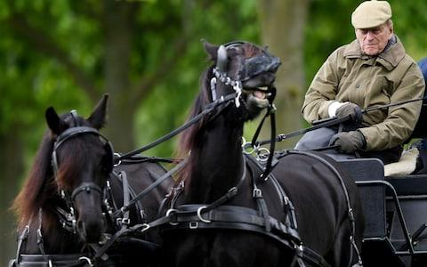 The Duke of Edinburgh sits on a carriage during the Royal Windsor Horse Show - Credit: REX