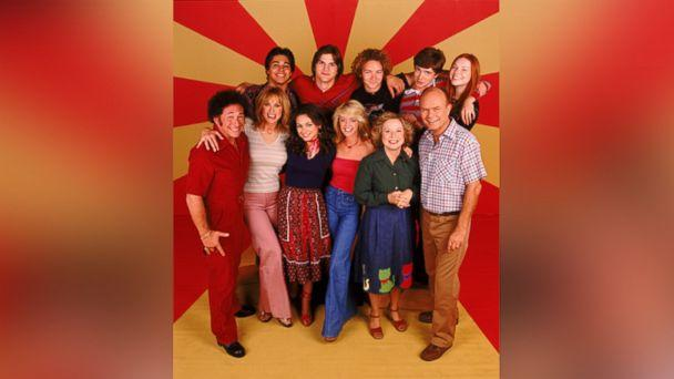 PHOTO: The cast of 'That '70s Show,' Top row, L-R: Wilmer Valderrama, Ashton Kutcher, Danny Masterson, Topher Grace, Laura Prepon. Center L-R: Don Stark, Tanya Roberts, Mila Kunis, Lisa Robin Kelly, Debra Jo Rupp and Kurtwood Smith. (FOX via Getty Images)