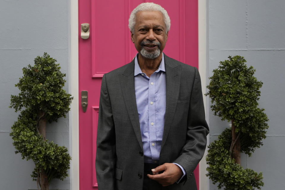"""Tanzanian writer Abdulrazak Gurnah poses ahead of a press conference in London, Friday, Oct. 8, 2021. Gurnah was awarded the Nobel Prize for Literature on Thursday. The Swedish Academy said the award was in recognition of his """"uncompromising and compassionate penetration of the effects of colonialism."""" (AP Photo/Kirsty Wigglesworth)"""