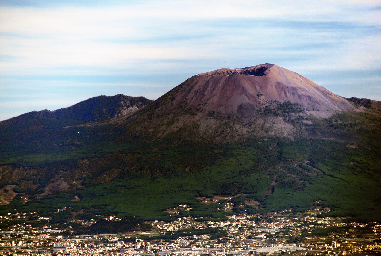 Mt. Vesuvius as seen from above Sorrento.