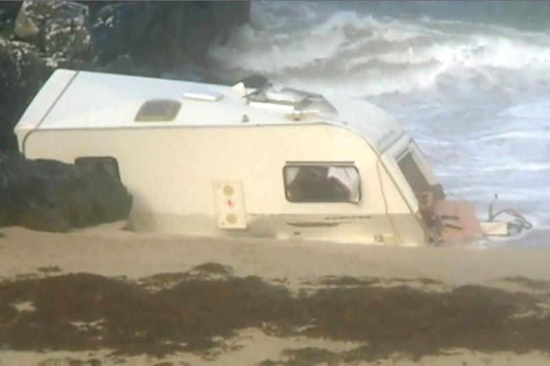 The caravan which blew off the cliff as Storm Ali hit Ireland (RTE.ie)