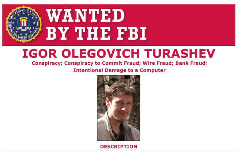Igor Turashev is seen on a wanted poster distributed by the Federal Bureau of Investigation (FBI) released in Washington