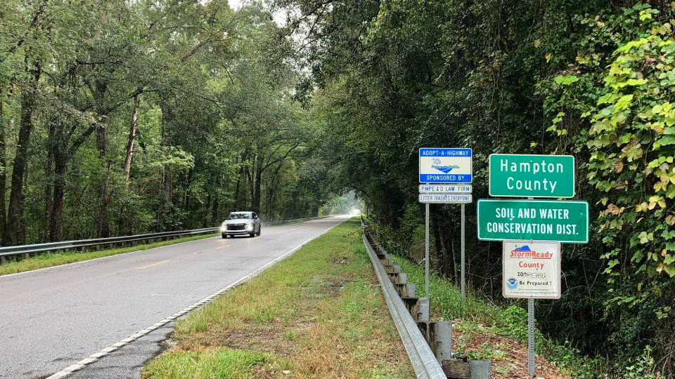 A sign welcomes people Hampton County, S.C., on Monday, Sept. 20, 2021. Attorney Alex Murdaugh and his family have steered much of the legal world in this county of 20,000 for a century. (AP Photo/Jeffrey Collins)