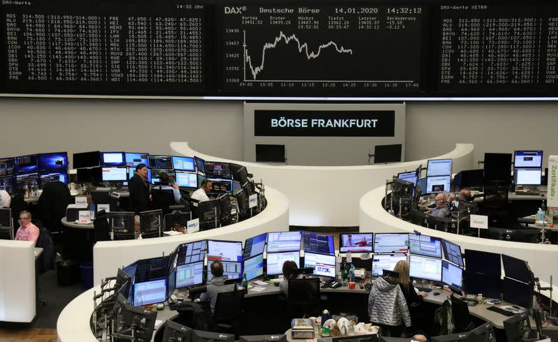 European shares end flat with focus on U.S.-China trade deal signing