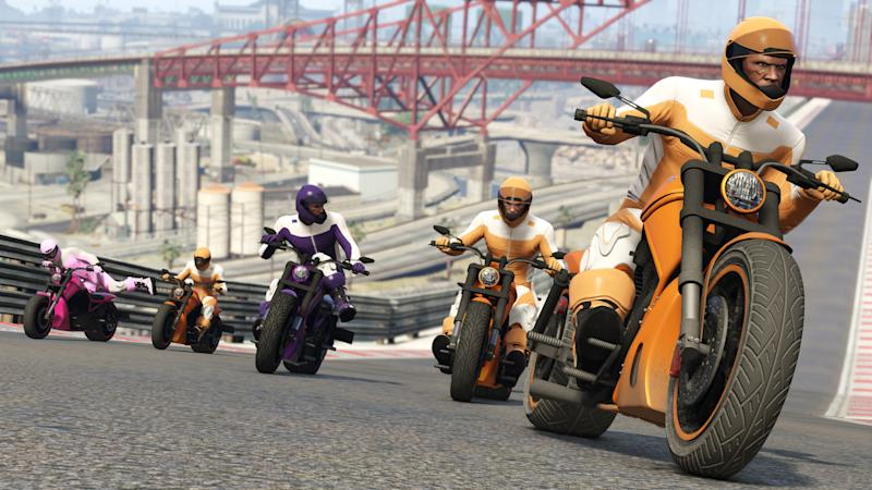 Characters on motorcycles in Grand Theft Auto V.