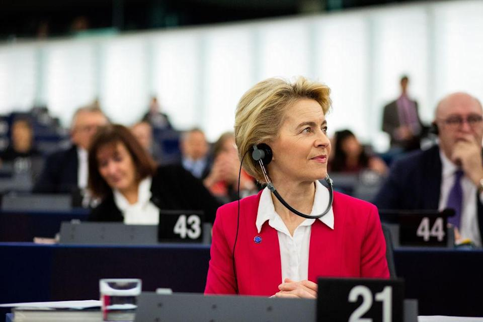 18 December 2019, France (France), Straßburg: The President of the European Commission, Ursula von der Leyen (CDU), member of the Group of the European People's Party (Christian Democrats) and European Democrats, sits in the plenary chamber during the plenary session of the European Parliament. The European Parliament is meeting this week for the last time in 2019. Photo: Philipp von Ditfurth/dpa (Photo by Philipp von Ditfurth/picture alliance via Getty Images)